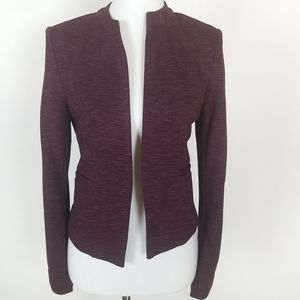 Halogen Burgundy Open Front Fitted Blazer XS
